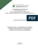 ANÁLISE ESTÁTICA E DINÂMICA (TRANSIENTE) DE PÓRTICO PLANO EM PROGRAMA COMPUTACIONAL COM LINGUAGEM FORTRAN