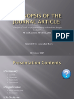 A Synopsis of the Journal Article