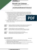 Ronald Lee Coleman Management Career[1]