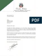 Carta de condolencias del presidente Danilo Medina a Luis Marino López por fallecimiento de su hijo