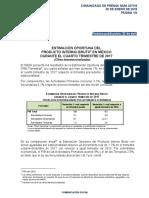 Estimación Oportuna del Producto Interno Bruto en México durante el Cuarto Trimestre de 2017