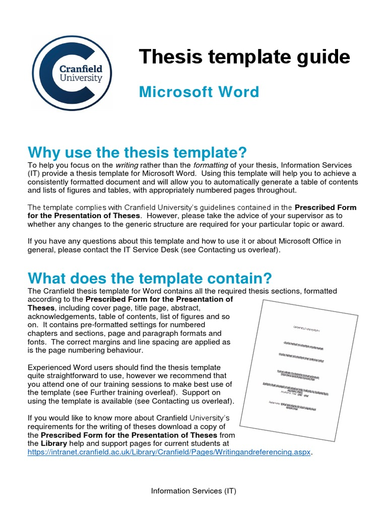 Word Thesis Template For Word Thesis Microsoft Word