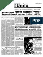 1985 7 Agosto l'Unita Palermo Omicidio via Croce Rossa Ninni Cassara Roberto Antiocchia Al Duomo Protesta Deli Poliziotti Montana Cossiga Sindaco Orlando