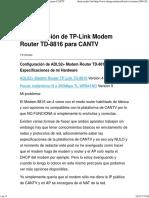 Configuración de TP-Link Modem Router TD-8816 Para CANTV