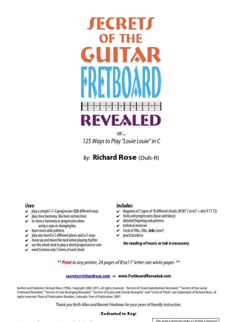 Secrets Of The Guitar Fretboard Revealedpdf Chord Music Guitars