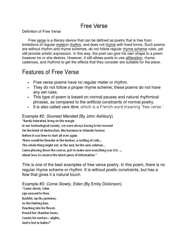 Free Verse Poetry Metre Poetry