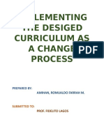 Implementing the Designed Curriculum as a Change Process