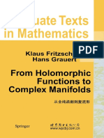 From Holomorphic Functions to Complex Manifolds
