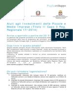 Scheda Aiuti Agli Investimenti Delle Piccole e Medie Imprese Titolo II - Capo III