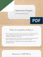 Work Immersion Program
