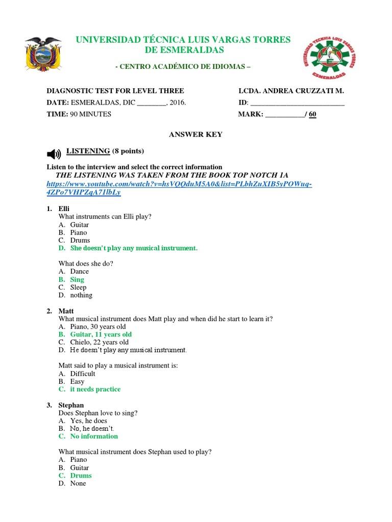 Answer Key-diagnostic Test 3rd Level | Entertainment