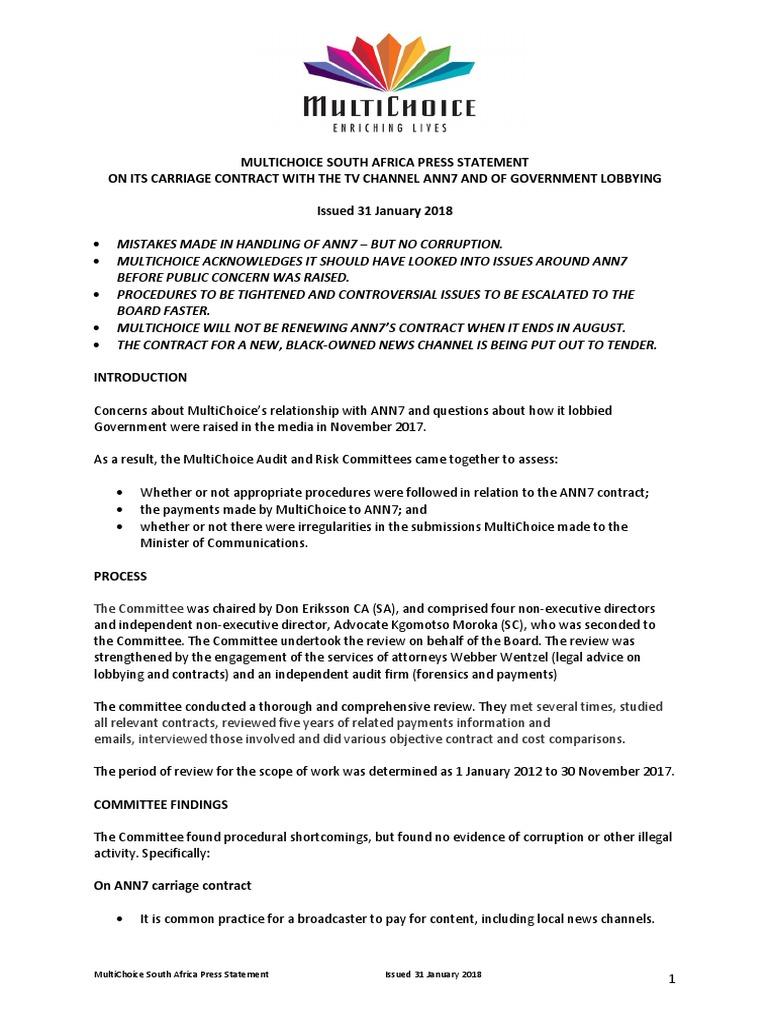 Multichoice press statement 31 jan 2018 audit risk altavistaventures Images