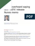 Trump Overheard Saying He'Ll '100%' Release Nunes Memo