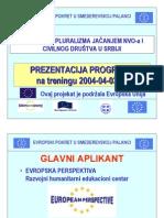 """PREZENTACIJA PROGRAMA """"PROMOCIJA PLURALIZMA JAČANJEM NVO-a I CIVILNOG DRUŠTVA U SRBIJI"""" na treningu 2004-04-03/04"""