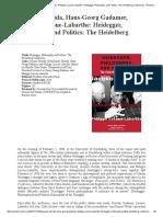 Derrida,Gadamer, Lacoue-Labarthe_Heidegger, Philosophy, And Politics - Phenomenological Reviews Bey