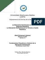 6ta y 7ma Tarea de Fundamentos Filosoficos e Historia de La Educacion Dominicana