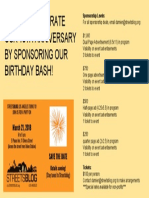 Sponsorship Card for SBLA 1OTH BIRTHDAY PARTY