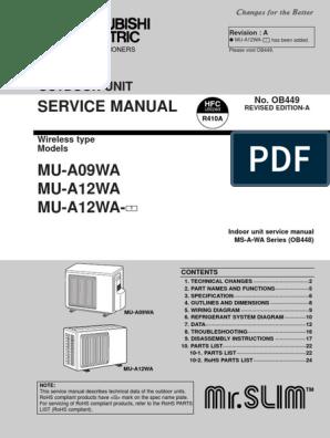 Mitsubishi Vrf Mu 09 12wa Service Manual Air Conditioning