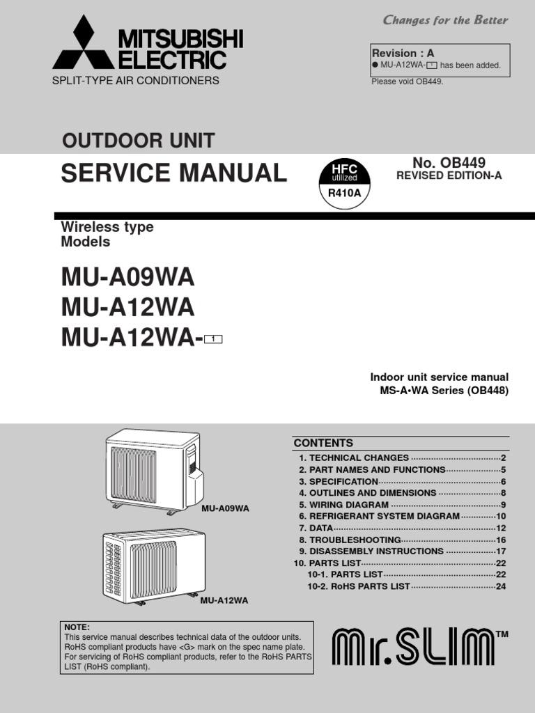 Mitsubishi R410a Wiring Diagram Trusted Diagrams Vrf Mu 0912wa Service Manual Air Conditioning 03 Galant Radio