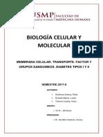 Semin 4 Membrana Celular. Transporte. Factor y Grupos Sanguineos. Diabetes Tipos i y II