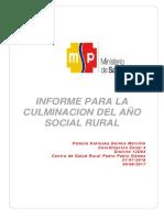 Informe de Culminacion Del Año de Salud Rural Dra. Pamela Quimis Marcillo