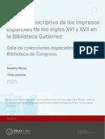 Saavedra Manuel - Catàlogo Descriptivo de Los Impresos Españoles de Lossiglos XVI y XVII en La Biblioteca Gutiérrez