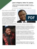 Morgan Tsvangirai in Nigeria, Visits TB Joshua