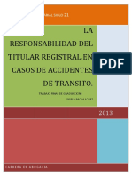 Res.del Titular Registral en Acc. de Transito