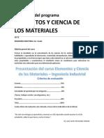 Desarrollo Del Programa Elementos y Ciencia de Los Materiales