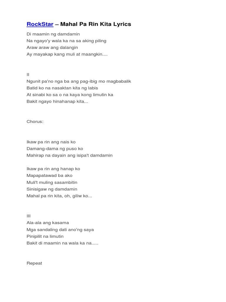 Mahal Pa Rin Kita Rockstar Lyrics Gethelpfordepressionbybeverley