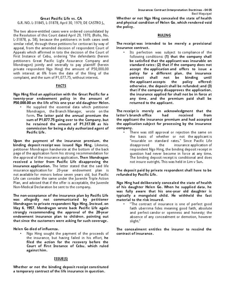 04 Great Pacific Life vs  CA | Insurance | Common Law