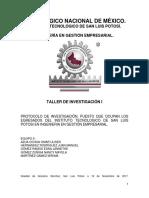TALLER de INVESTIGACION Protocolo de Investigación