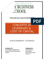CONCEPTS OF LEVERAGES &  COST OF CAPITAL