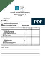 Presentation Marking Sheet - PHM