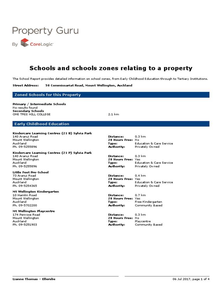 School Zones Commissariat Rd 50 | Schools | Further Education