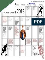 Sports Calendar February 2018