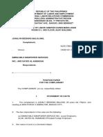 Position Paper Complainant