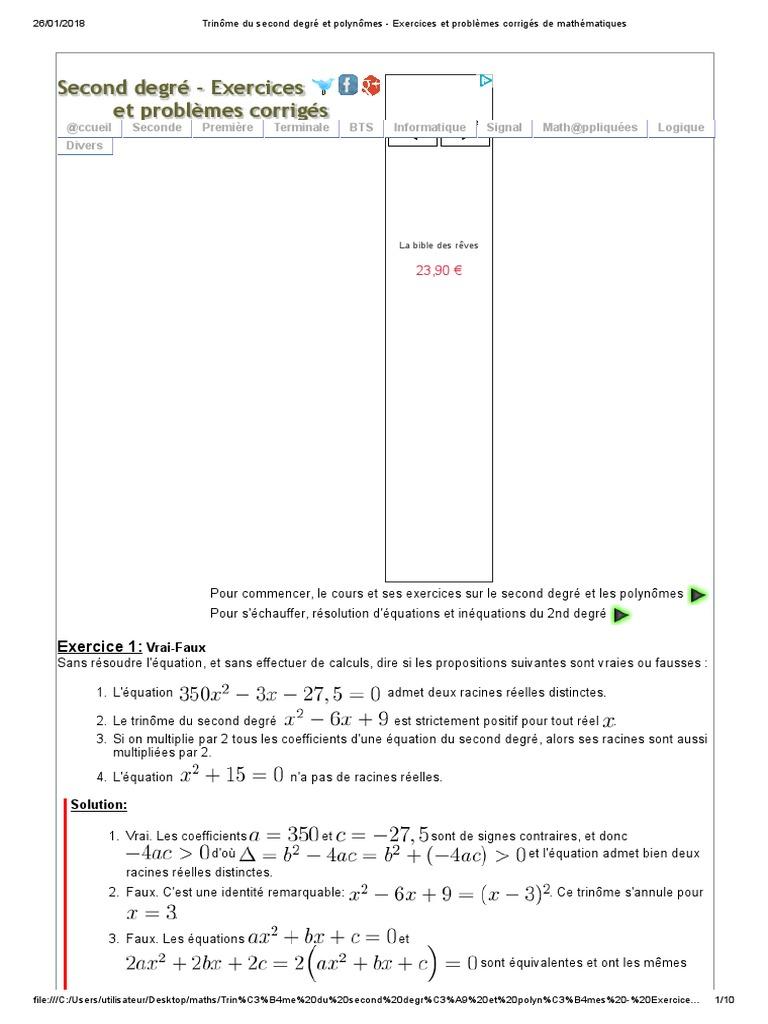 Trinome Du Second Degre Et Polynomes Exercices Et Problemes Corriges De Mathematiques Nombre Reel Polynome