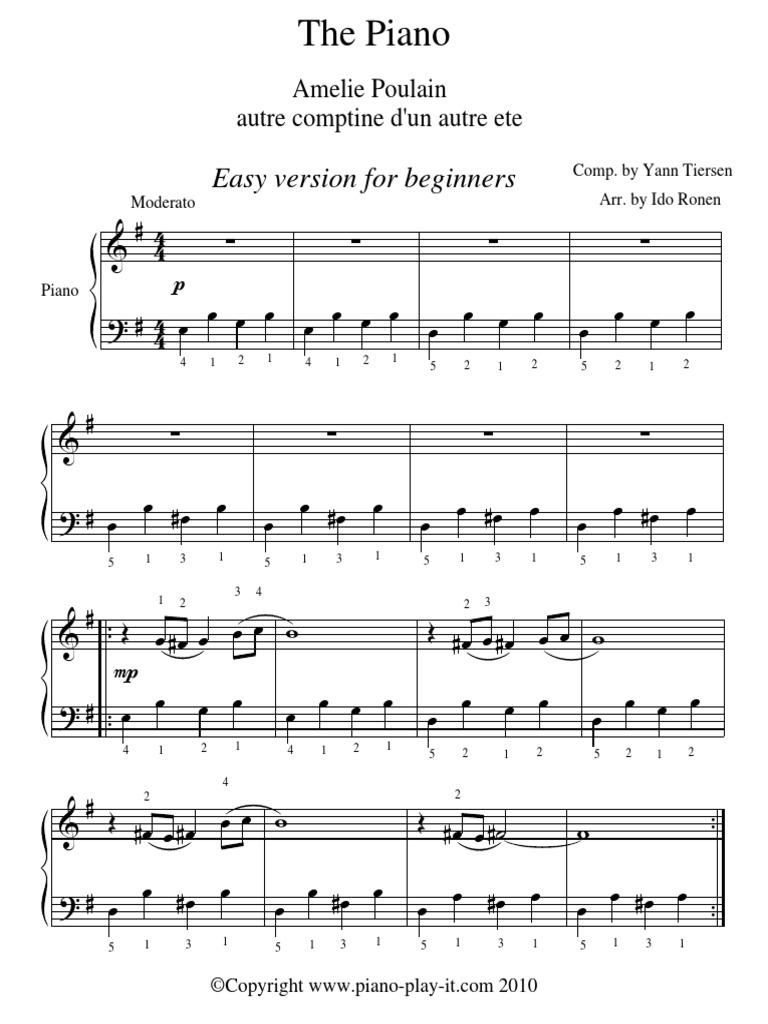 Amelie The Piano Yann Tiersen Easy Versionpdf