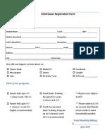 Kick City Master Child Registration Form