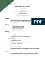 resume for vanessa mewborn