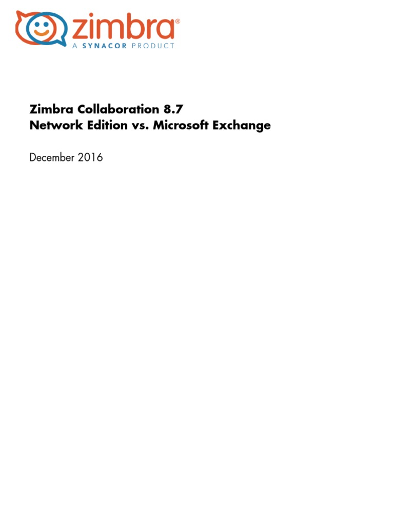 Zimbra Collab 8 7 NE vs MS Exchange | Microsoft Exchange Server