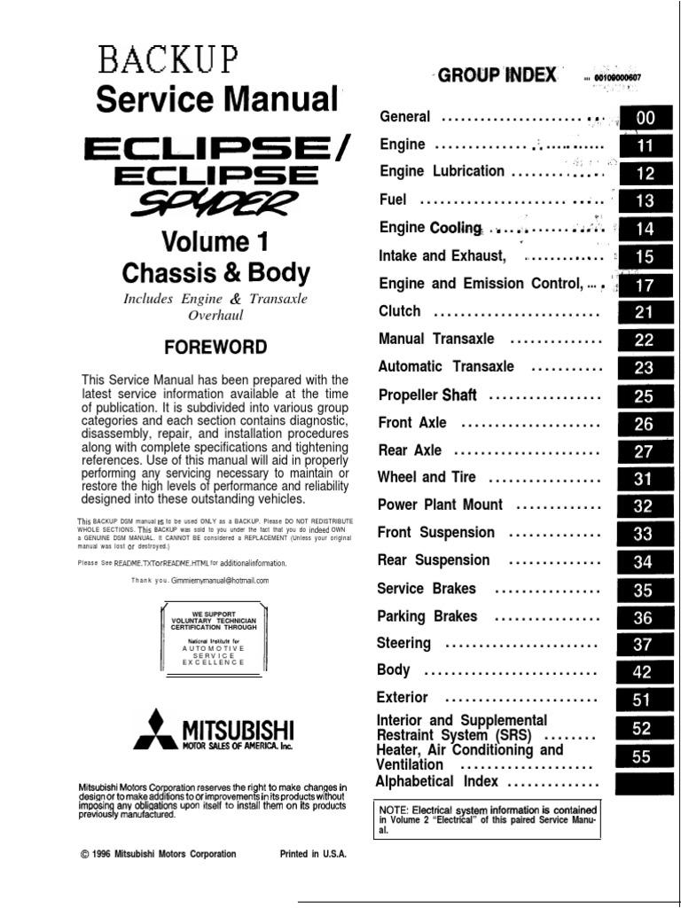 Eclipse Spyder 1997 VOL 1 Service Manual | Manual