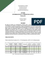 Lab. Fisicoquímica - Práctica #01 Determinación de La Temperatura Crítica