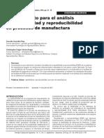Procedimiento para el análisis de repetibilidad y reproducibilidad en procesos de manufactura