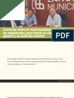 Convenio entre la municipalidad y la unión de magistrados para frenar la violencia de género y el maltrato infantil