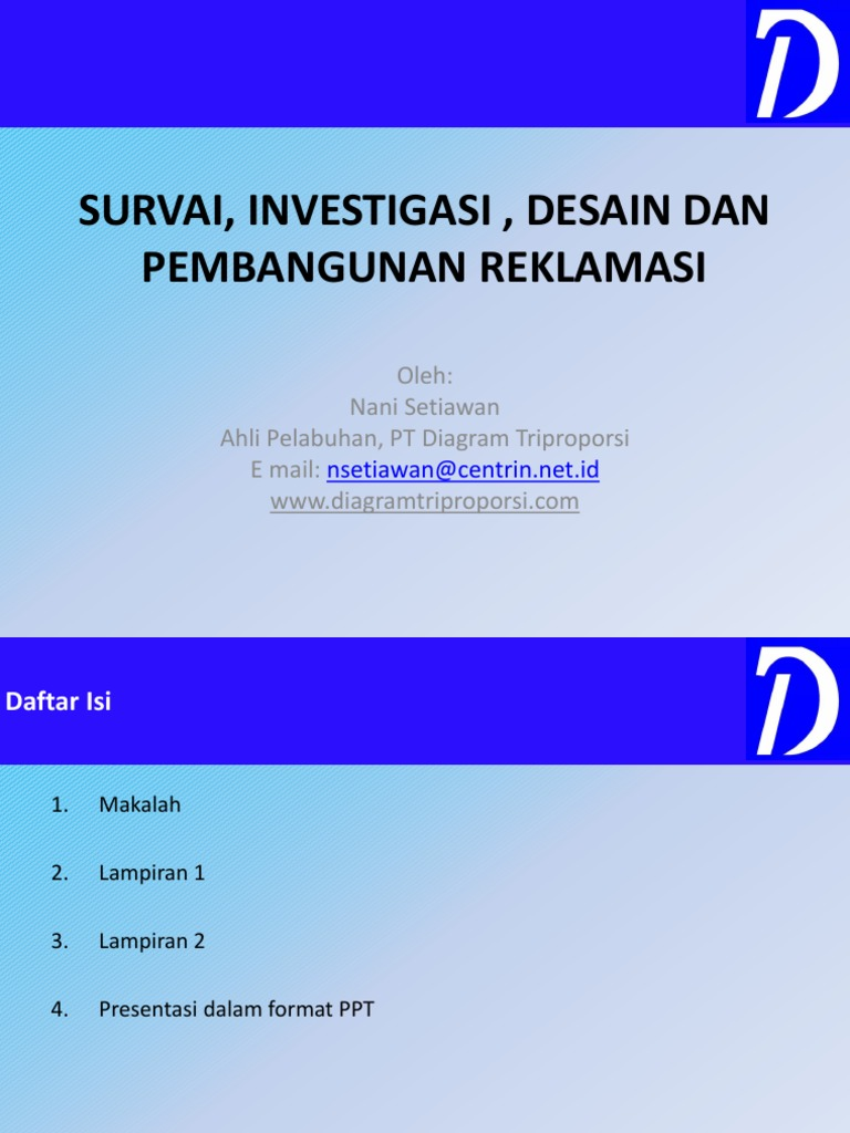 Survai investigasi desain dan pembangunan reklamasi final ccuart Choice Image