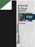 Sánchez Blanco, Francisco, R. de La Fuente (Ed.), La Prosa Del Siglo XVIII, Madrid, Ediciones Jucar, 1992, Pp. 44-64. (Historia de La Literatura Española, n. 27).