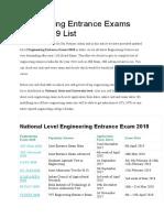 Engineering Entrance Exams 2018