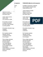 Fundador and San Ignacio Kawal ni Kristo Lyrics
